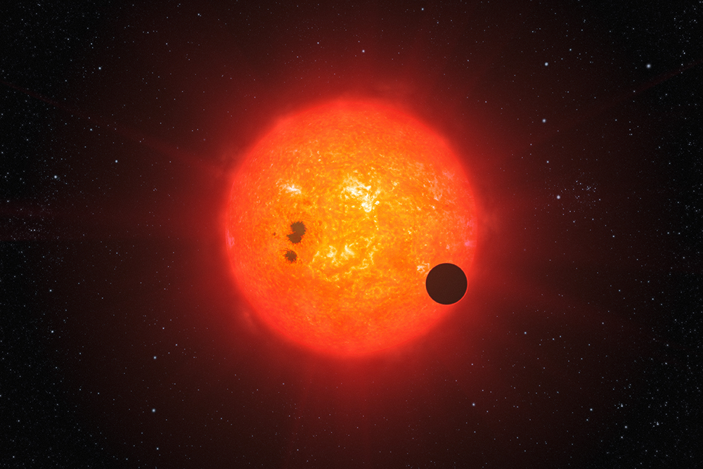 red star with exoplanet